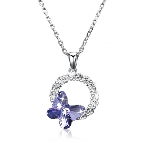 Crystals from swarovski S925 sterling silver butterfly romantic round pendant necklace