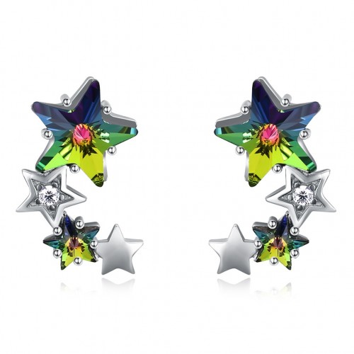 Crystal comes from the swarovski element star sterling silver stud