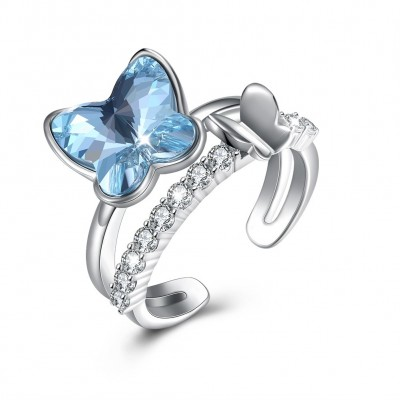 Crystal comes from the swarovski element butterfly shaped diamond-encrusted pure silver ring.