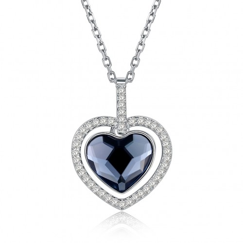 S925 fashion sterling silver comes from the swarovski heart-shaped silver necklace