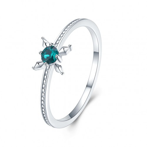 Crystals from swarovski S925 pure silver light luxury flower crystal ring