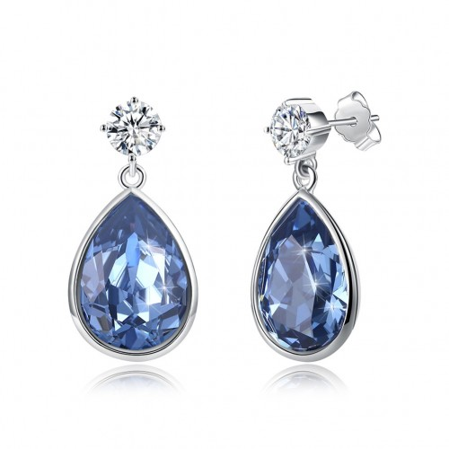 Crystal comes from swarovski element water drop sapphire blue pop S925 sterling silver earrings