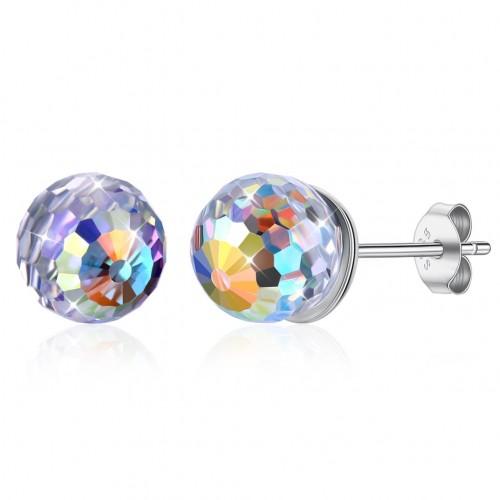 Swarovski element round ball crystal S925 sterling silver ear stud
