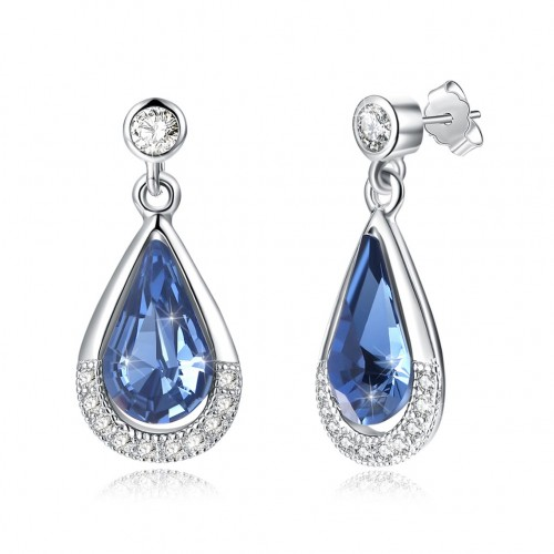 Crystal comes from swarovski element pure silver drop drop sapphire blue pop S925 pure silver ear stud