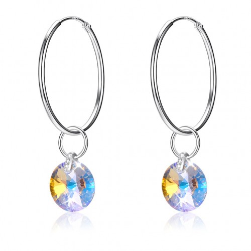 Crystals from swarovski S925 sterling silver circle style crystal pendant earrings