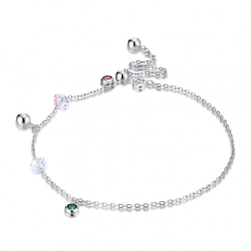 Swarovski element crystal S925 pure silver water square beaded foot chain