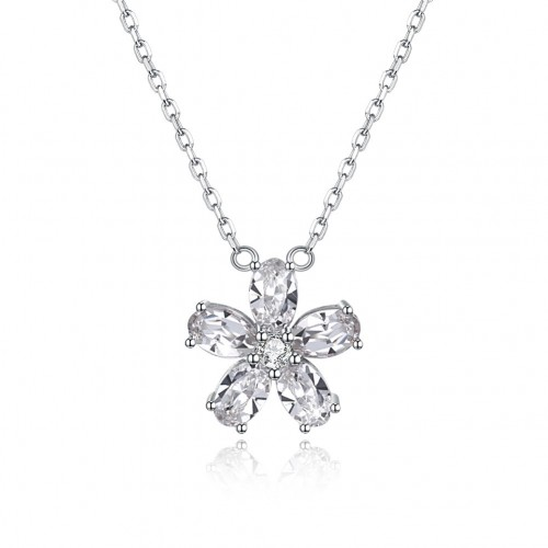 Crystals from swarovski S925 sterling silver crystal petal necklace
