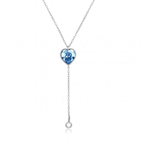 Crystal comes from the swarovski element heart shape S925 sterling silver necklace