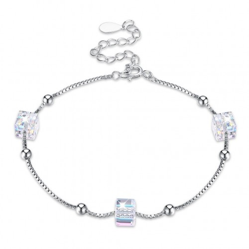 Crystal comes from the swarovski elemental pure silver bracelet