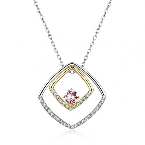Crystals from swarovski S925 sterling silver rhombic ring with a wide range of coloured pendant necklaces