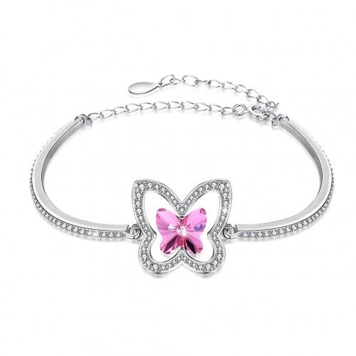 Swarovski crystal butterfly S925 sterling silver bracelet