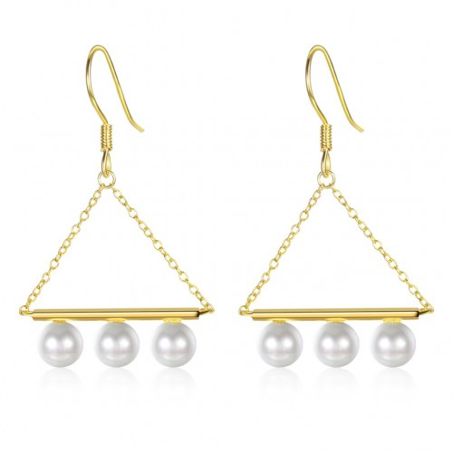 Crystals from swarovski S925 sterling silver pearl chain earrings