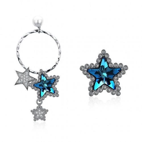 925 pure silver pentagonal blue zircon earrings