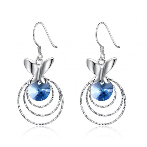 Crystal comes from the swarovski element butterfly with three S925 sterling silver earrings