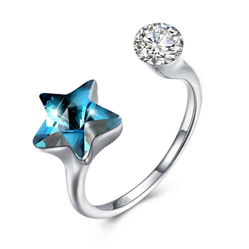 The crystal comes from the swarovski element S925 sterling silver star ring