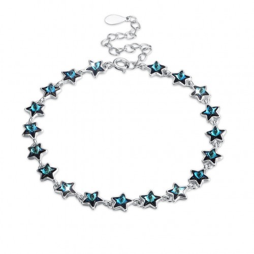Crystal comes from the swarovski element full star pure silver bracelet