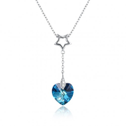 Crystals from swarovski S925 sterling silver heart crystal pendant necklace