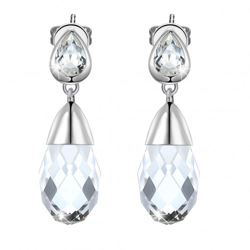 Crystal comes from the swarovski element S925 pure silver transparent drop earrings