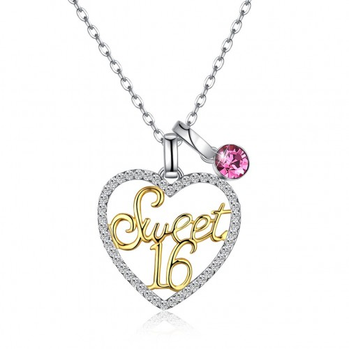Crystals from swarovski S925 sterling silver variety daphne heart Sweet 16(Sweet 16) crystal pendant necklace