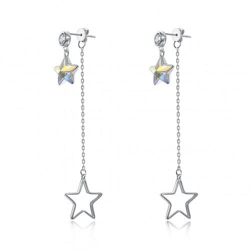 S925 fashion sterling silver from swarovski star long pendant silver earrings.