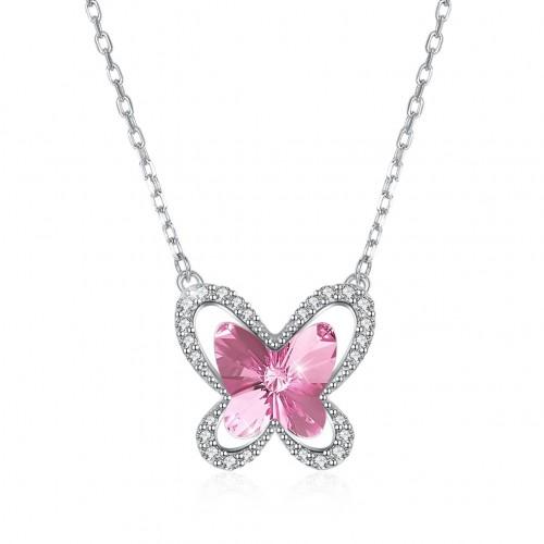 Swarovski element crystal butterfly S925 sterling silver necklace