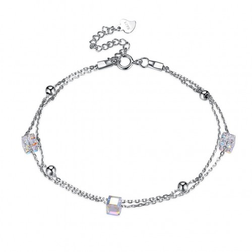 Fashion Sterling Silver Square Zircon Double Hot Lady Bracelet