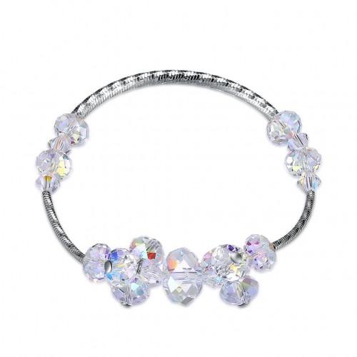 S925 Korean personality crystal beads sterling silver bracelet