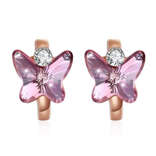 Fashion Silver Stud Earrings Blue Butterfly Stud Earrings