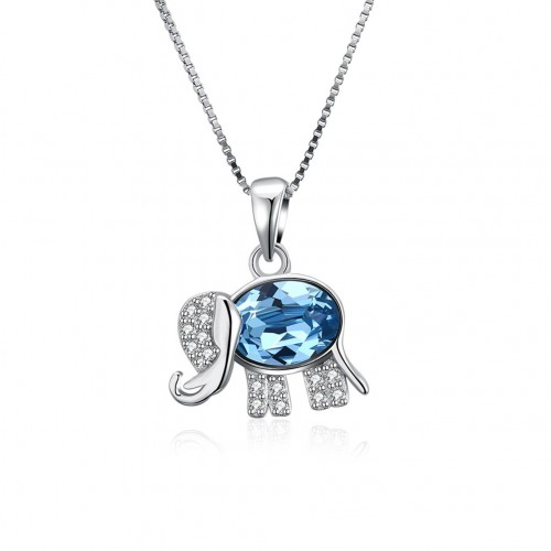 S925 pure silver blue diamond small elephant necklace