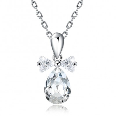 Crystal comes from the swarovski element transparent crystal drop shaped S925 sterling silver necklace
