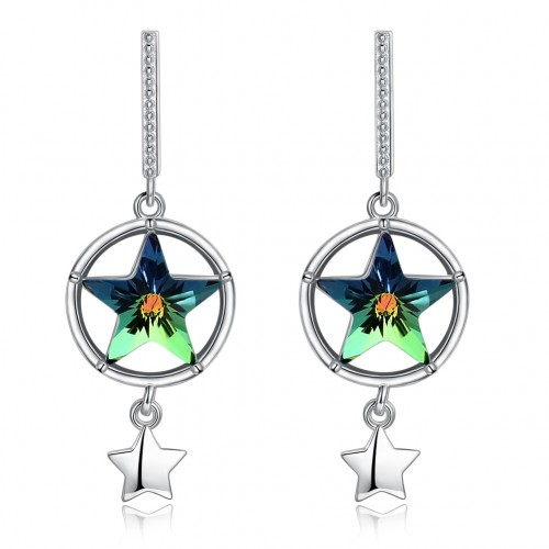 S925 fashion sterling silver comes from the swarovski element star shaped pure silver earrings.