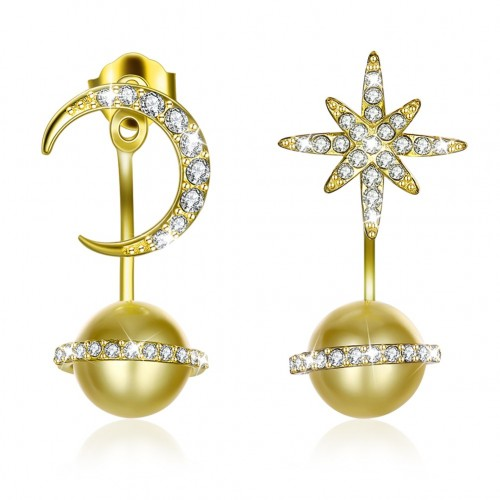 Crystals from swarovski S925 sterling silver multi-daily-star moon pearl hanger earrings