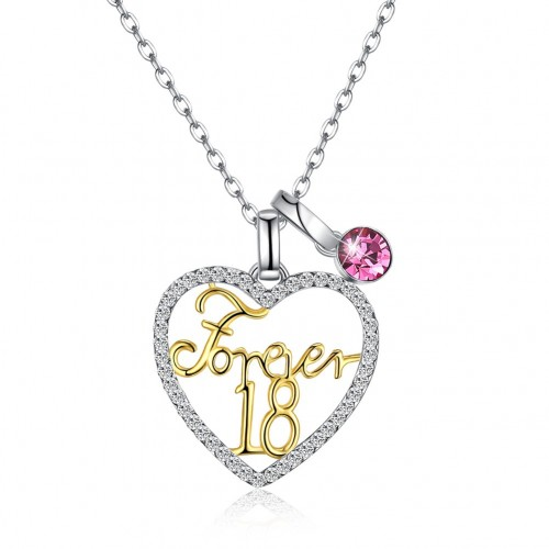 LEKANI crystals from swarovski S925 sterling silver variety wear heart Forever18 (Forever18) pendant necklace