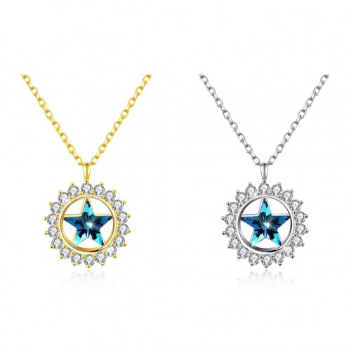 Swarovski star two colors S925 sterling silver necklace