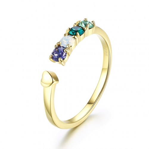 Crystals from swarovski S925 sterling silver gilt multicoloured crystal small fresh ring
