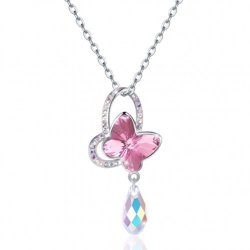 Crystal comes from the swarovski element butterfly sterling silver necklace