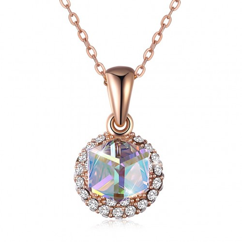 Crystals from swarovski S925 sterling silver sugar double-sided pendant necklace