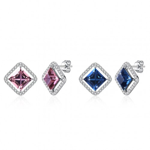 Crystal comes from the swarovski element S925 sterling silver square stud