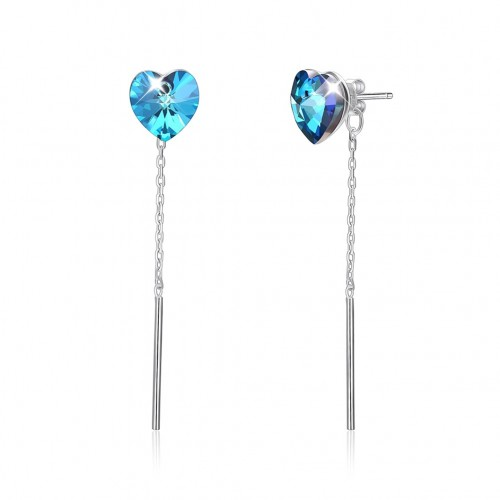 Crystal is from swarovski\'s heart-shaped crystal with long, simple silver earrings