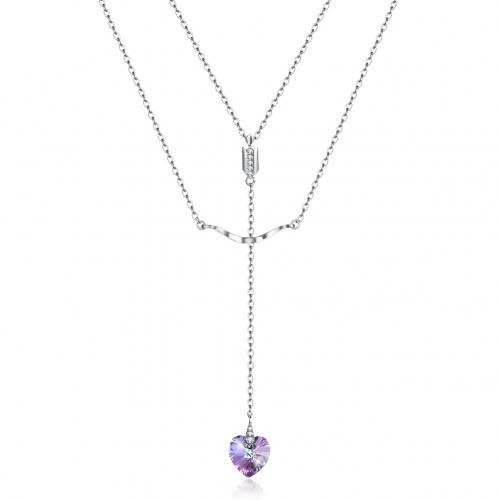 Crystals from swarovski S925 sterling silver stacked with heart-shaped trend pendant necklace