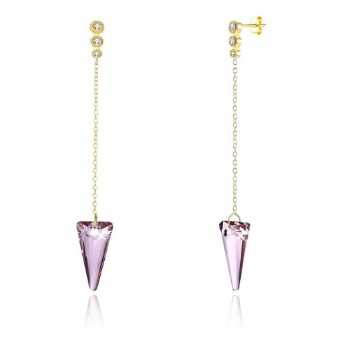 Swarovski element with pink crystal S925 sterling silver earrings