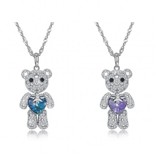 Swarovski's cute bear full of two S925 sterling silver necklaces