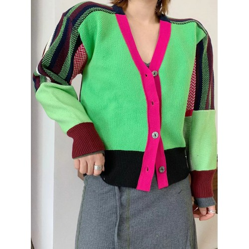 Contrast Color Knitting Ladies coats