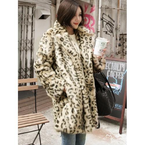 Fashion Leopard Loose Long Women's Winter Coats
