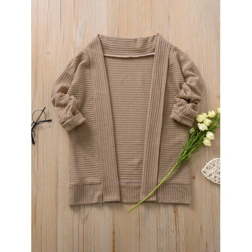 Casual Pure Color Knitted Girls Coats For Winter