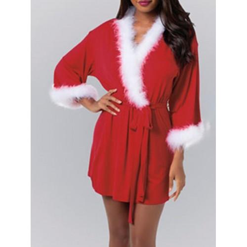 Christmas Long Sleeve Tie Wrap Ladies Coats