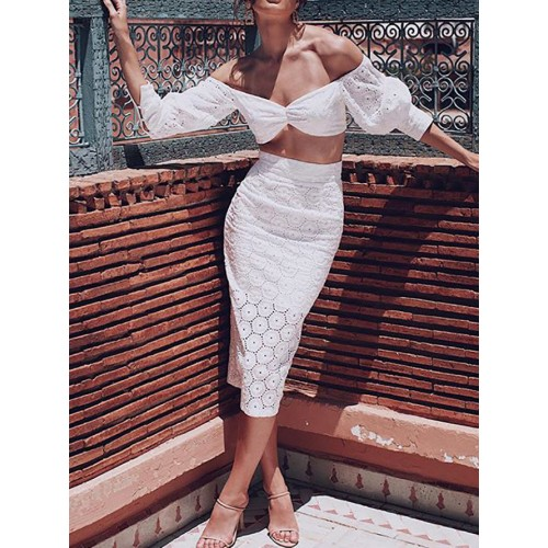 Boat Neck Embroidery White Two Piece Skirt Set