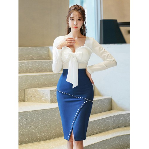 Bow Decor Contrast Color Slim 2 Piece Skirt Set
