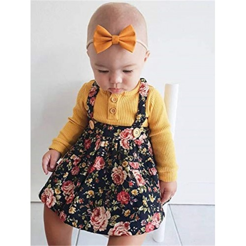 Causal Tee With Floral Suspender Skirt For Girl