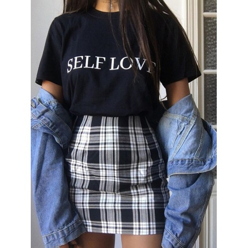 Classic Plaid Pattern Black Mini Skirt For Women